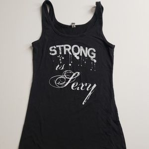 EUC Strong is Sexy fitness workout tank top S